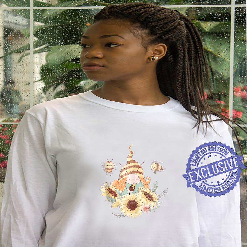 Girl Gnome and Bees Painting Sunflowers Cute Summer Shirt hoodie