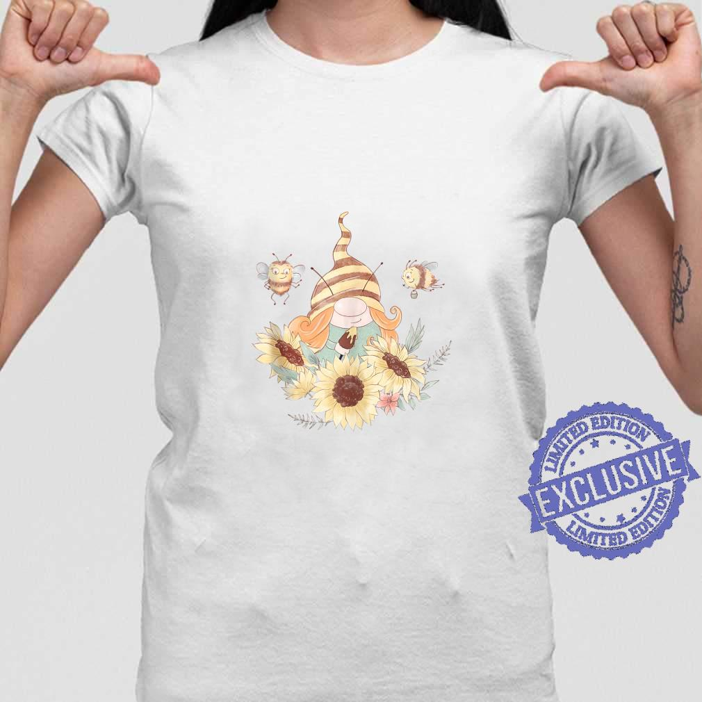 Girl Gnome and Bees Painting Sunflowers Cute Summer Shirt ladies tee