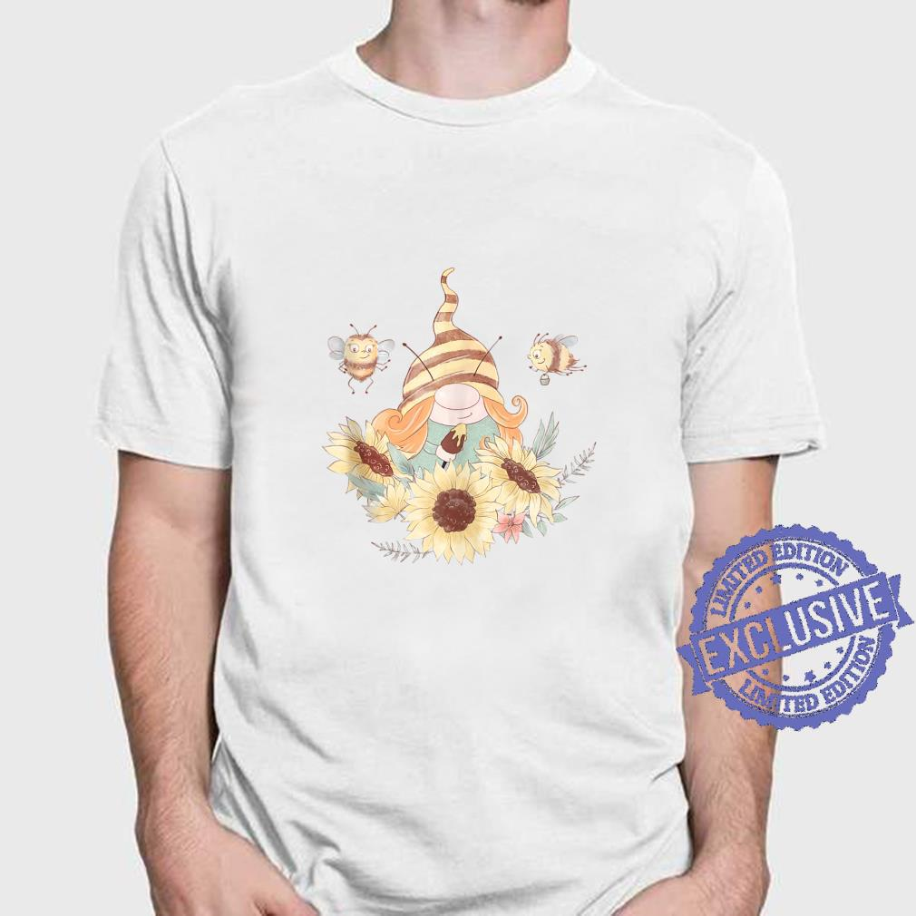 Girl Gnome and Bees Painting Sunflowers Cute Summer Shirt