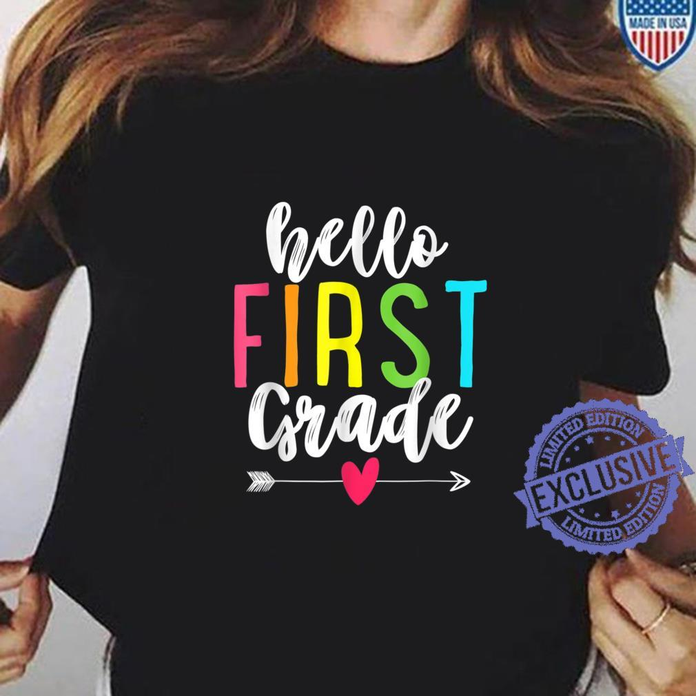 Hello 1st First Grade Back To School Shirt ladies tee