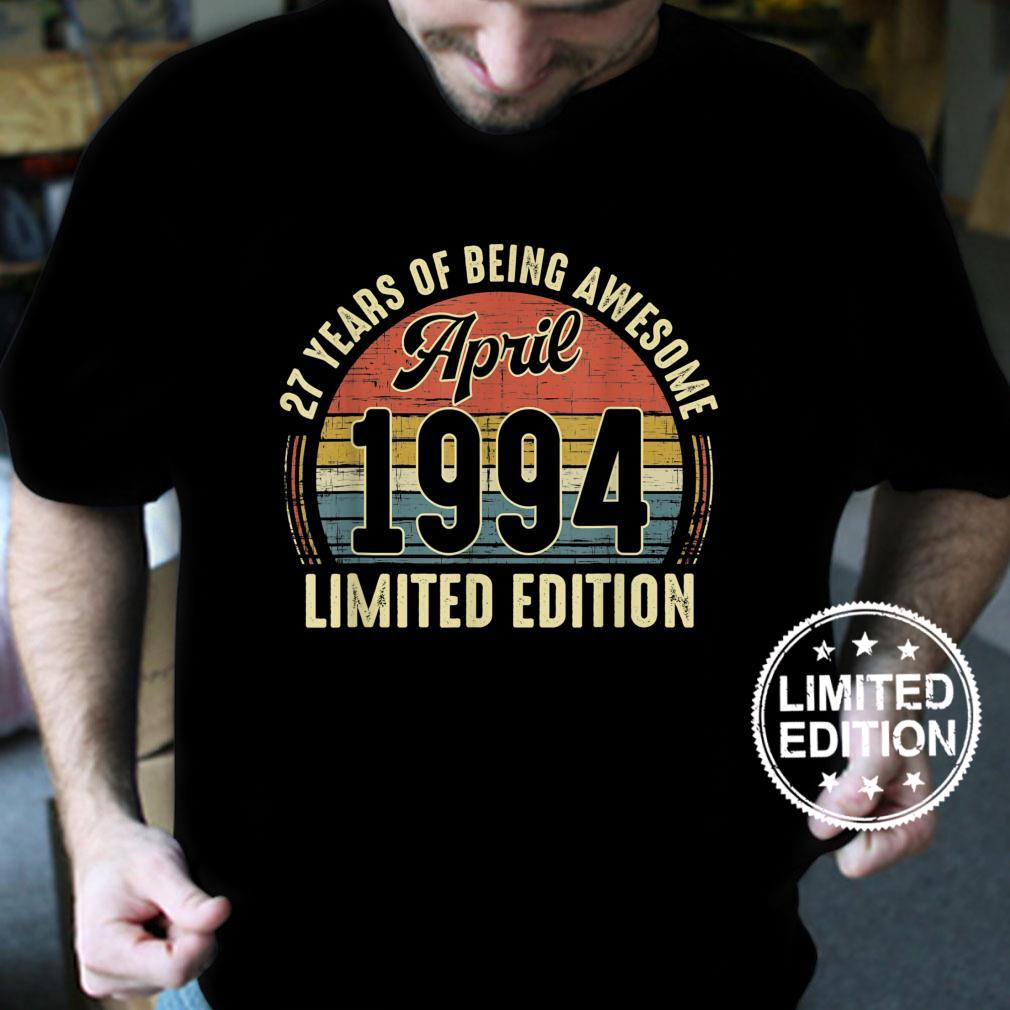 Vintage April 1994 Distressed 27 Year Old Retro 27th Bday Shirt