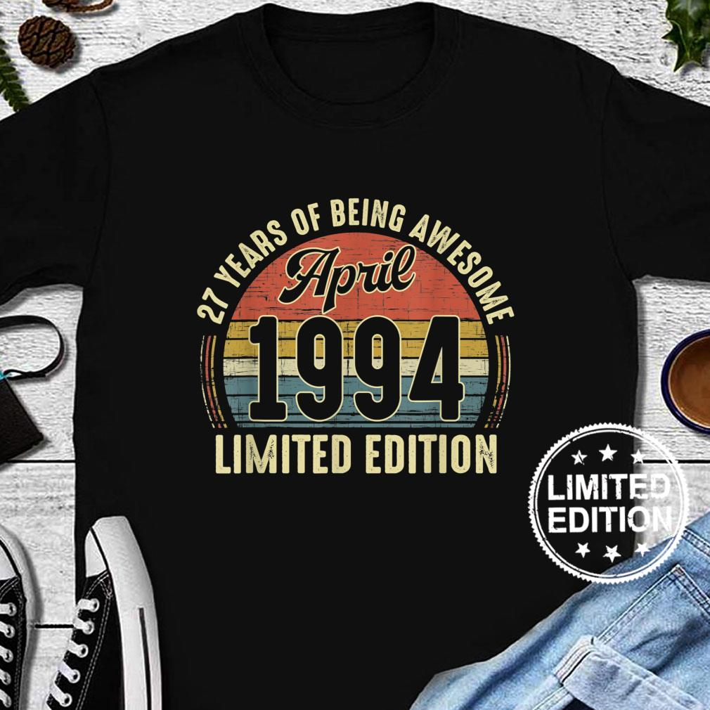Vintage April 1994 Distressed 27 Year Old Retro 27th Bday Shirt long sleeved
