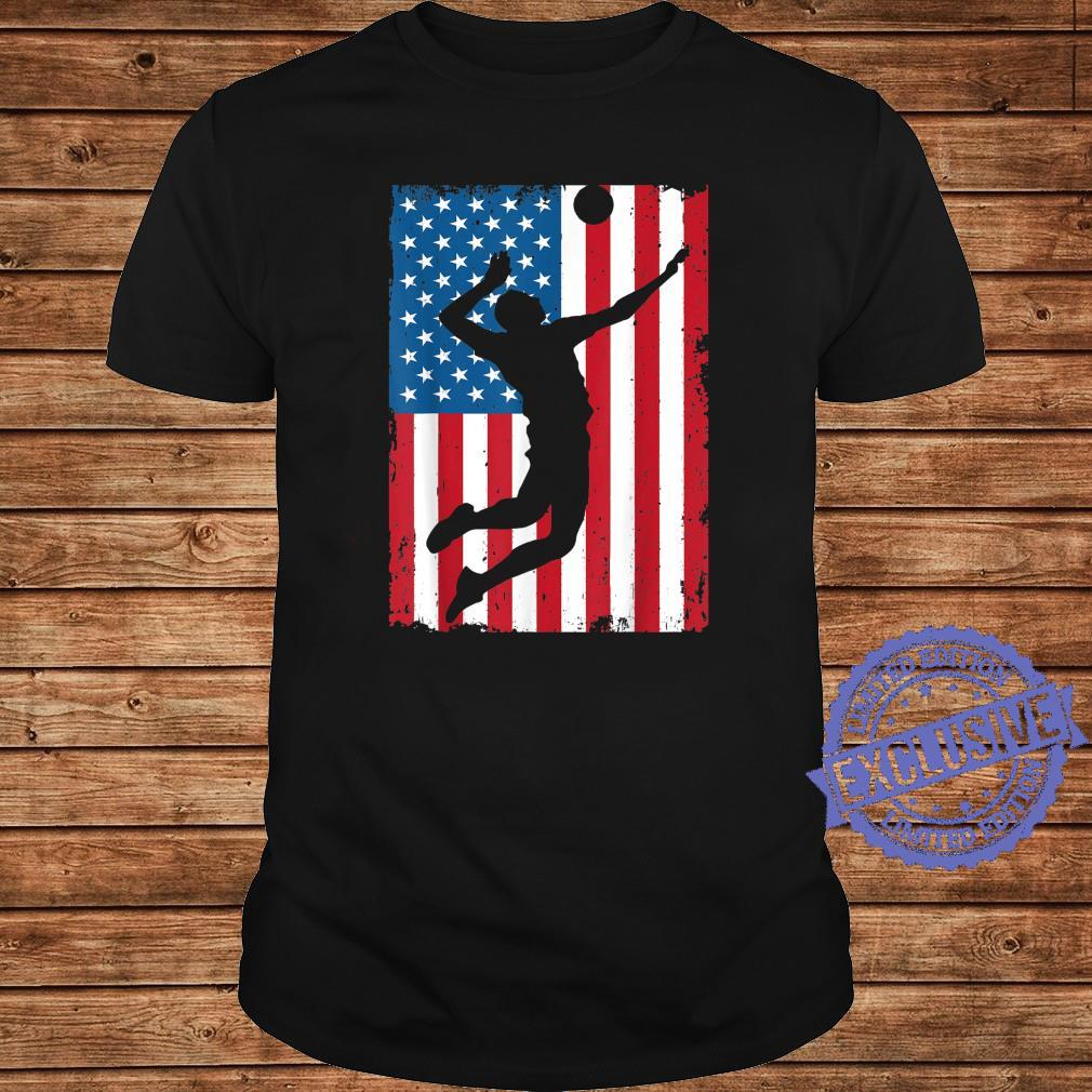Volleyball American Flag USA Sports Vintage Shirt long sleeved
